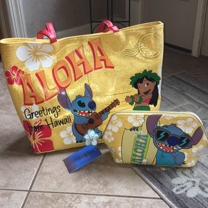 Danielle nicole Aloha stitch tote and cosmetic bag
